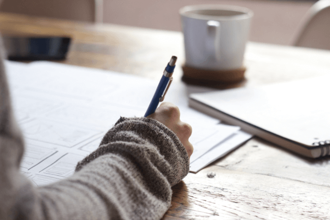 håndskrift skrivebord
